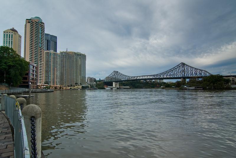 Story Bridge and Brisbane River, on a Gloomy Day