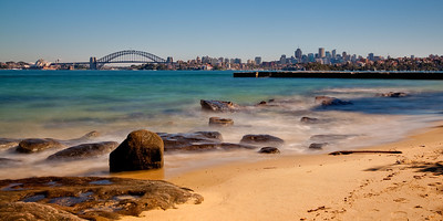 Sydney Opera House and Harbour Bridge from Bradley's Head on a Warm Winter Morning