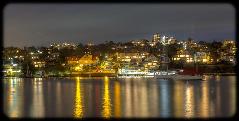 Neutral Bay Ferry Wharf from North Sydney Ferry Wharf at Dusk