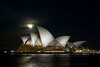 Sydney Opera House at Night at almost full moon.<br /> <br /> This is a 3 shot in-camera multiple exposure with exposure bracketing