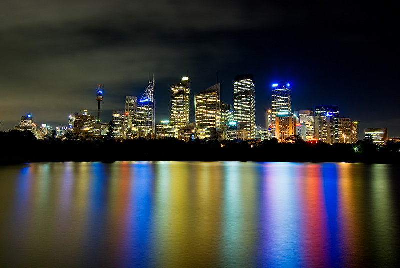 Sydney City Nightscape from Macquaries Point with City Lights Reflected on the Harbour