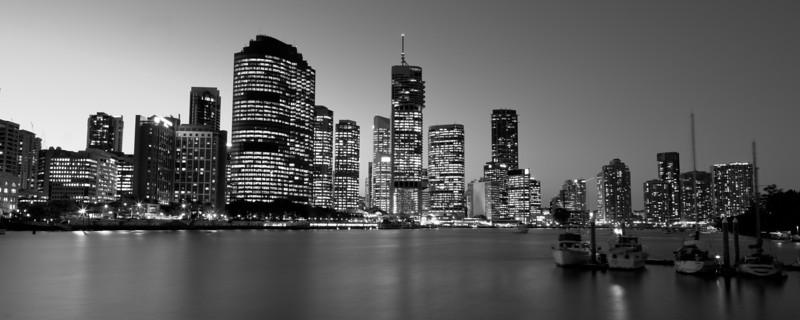 Brisbane City Skyline At Sunset from Kangaroo Point