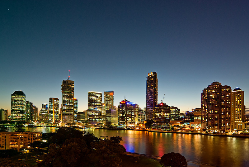 Viewed from the Story Bridge - Three shot multiple exposure, bracketed one and a third stop either way