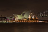 Sydney Opera House and Harbour Bridge at Night on a the Spring Equinox (and Full Moon)