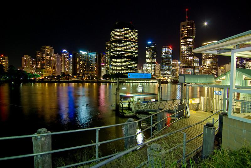 Thornton Street Ferry Terminal and Brisbane Skyline at Night