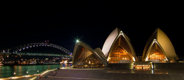 Sydney Opera House and Harbour Bridge: South View Panorama at Night
