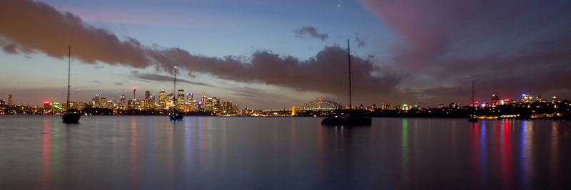 Sydney Night Skyline from Athol Bay