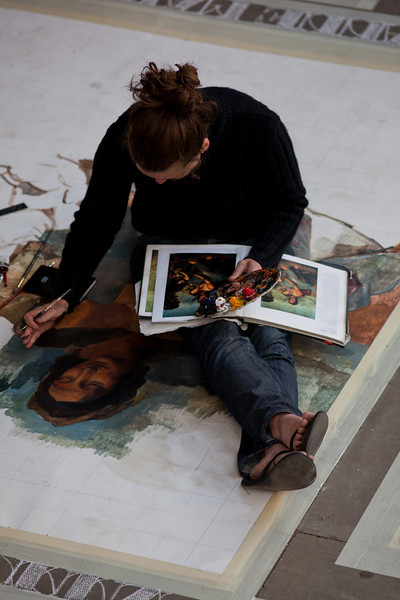 """emma produces amazingly detailed replicas of DaVinci (perhaps other artists too) Paintings on large canvasses at Southbank London. Emma also produces amazingly intricate original graphite on paper drawings (see <a href=""""http://www.flickr.com/photos/emmamcnally/"""">http://www.flickr.com/photos/emmamcnally/</a> )."""