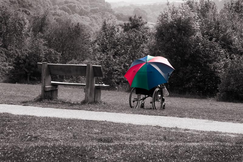 Wheelchair and umbrella