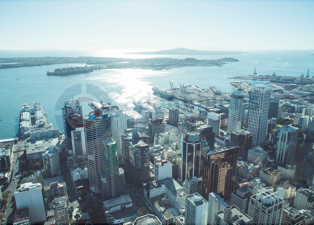 Auckland City from the Sky Tower. Sunday 14 May 2017. © Copyright, Adam Binns Photography, Dunedin, New Zealand 2017