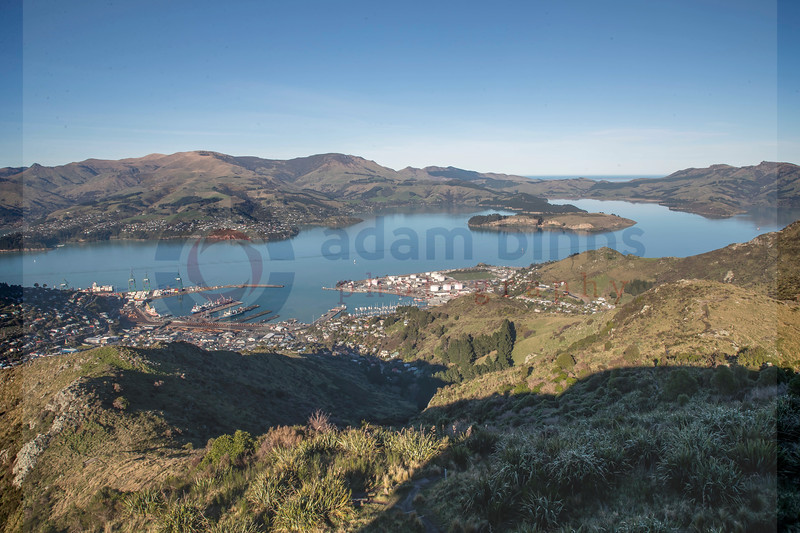 Lyttleton from Mount Cavendish, Friday 20 July 2018. © Copyright, Adam Binns Photography, Dunedin, New Zealand 2018