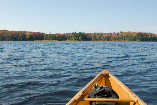 canoeing on Bourn Pond