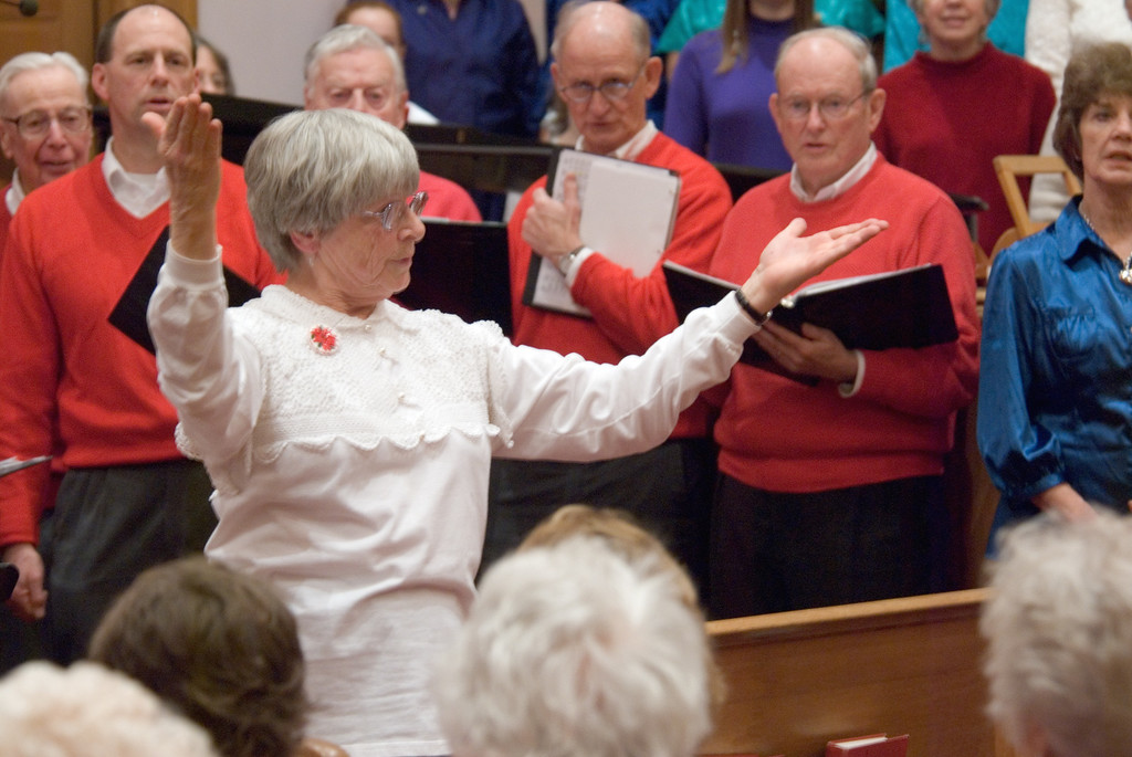 holiday concert of the Freelance Family Singers and the University Chorus of the Upper Valley - this marks the 25th year that Ellen Satterthwaite has directed the Freelance Family Singers - a Miranda Thomas bowl was presented to her at the end of the concert