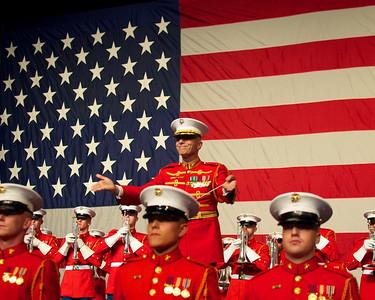 110912, Boston, MA -  The Marine Corps Drum & Bugle Corps performs at the Marine Corps Luncheon at the BCEC on Friday. Photo by Ryan Hutton