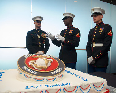 110912, Boston, MA -  A detail of Marines stand guard over the official 237th birthday cake of the Marine Corps at the Marine Corps Luncheon at the BCEC on Friday. Photo by Ryan Hutton