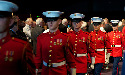110912, Boston, MA -  The Marine Corps Drum & Bugle Corps marches out of the Marine Corps Luncheon at the BCEC on Friday. Photo by Ryan Hutton