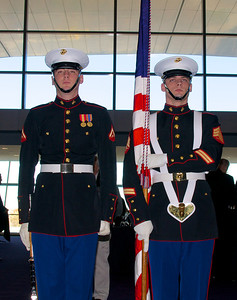 110912, Boston, MA -  A Marine Corps color guard prepares to escort the official 237th birthday cake of the Marine Corps at the Marine Corps Luncheon at the BCEC on Friday. Photo by Ryan Hutton