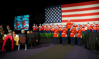 110912, Boston, MA -  The Marine Corps Drum & Bugle Corps performs at the Marine Corps Luncheon at the BCEC on Friday. Photo by Ryan Hutton