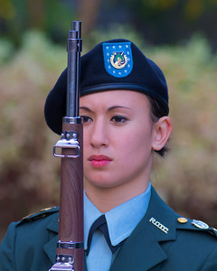 111212, Boston, MA - Northeastern University ROTC cadet Angela Kollmer, of Hillsborough, NJ stands at attention at the school's Veterans Day celebration in the Neal F. Finnegan Plaza by the Northeastern University Veterans Memorial. Herald photo by Ryan Hutton