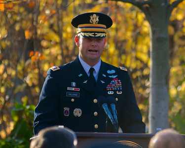 111212, Boston, MA - Lt. Col. Blaise Gallahue of the U.S. Army speaks at the school's Veterans Day celebration in the Neal F. Finnegan Plaza by the Northeastern University Veterans Memorial. Herald photo by Ryan Hutton
