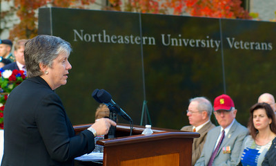 111212, Boston, MA -U.S. Secretary of Homeland Security Janet Napolitano speaks at the Northeastern University's Veterans Day celebration in the Neal F. Finnegan Plaza by the Northeastern University Veterans Memorial. Herald photo by Ryan Hutton