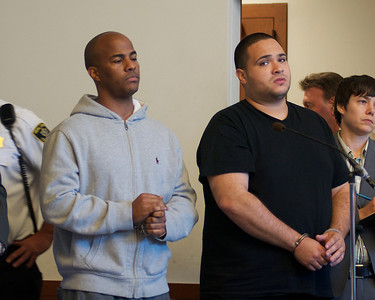 070912, Boston, MA - Tomas Soto, 34, of South Boston, left, and Rafael Vasquez, 28, of Canton, right, face arraignment on drug charges in Boston Municipal Court on Monday. Herald photo by Ryan Hutton