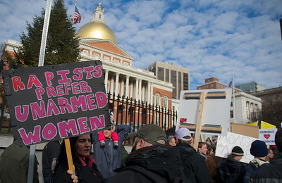 "011913, Boston, MA - Supporters of the ""Guns Across America"" group rally outside the Massachusetts statehouse to protest any future gun control legislation. Photo by Ryan Hutton"