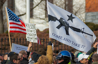 """011913, Boston, MA - Supporters of the """"Guns Across America"""" group rally outside the Massachusetts statehouse to protest any future gun control legislation. Photo by Ryan Hutton"""