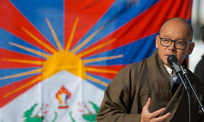 031013, Boston, MA - Dhondup Phunkhang speaks to a group of several hundred activists at Boston Common for Tibetan National Uprising Day to protest China's occupation of Tibet. Photo by Ryan Hutton