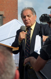102012, Boston, MA - Former Welterweight Champion Tony DeMarco addresses a crowd of at least several hundred prior to the dedication of a statue in his honor at the intersection of Hanover and Cross Streets. Herald photo by Ryan Hutton