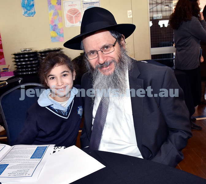 Generation Sinai held at Kesser Torah College. Baila Gourarie with her dad Rabbi Michoel Gourarie. Pic Noel Kessel