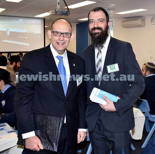 Generation Sinai held at Kesser Torah College. School Principal Roy Steinman (left), Rabbi Yaacov Chaiton. Pic Noel Kessel