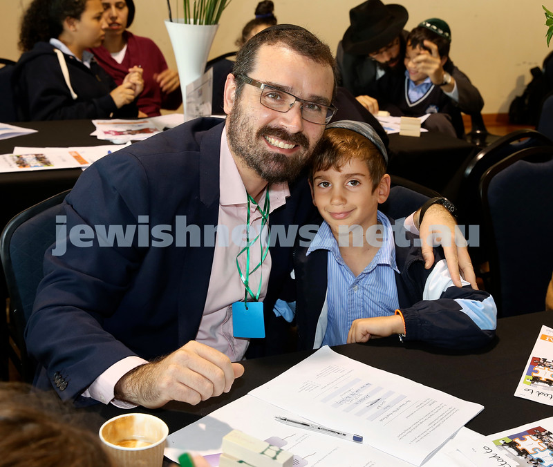 Generation Sinai learning at Kesser Torah College. Mendy Moss with his son Ariel.