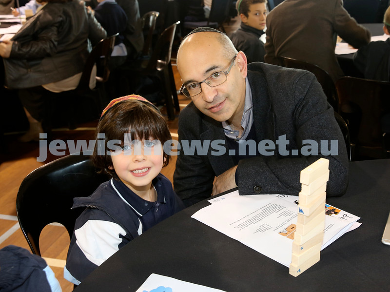 Generation Sinai learning at Kesser Torah College. Howard Leibman with his son Jacob.