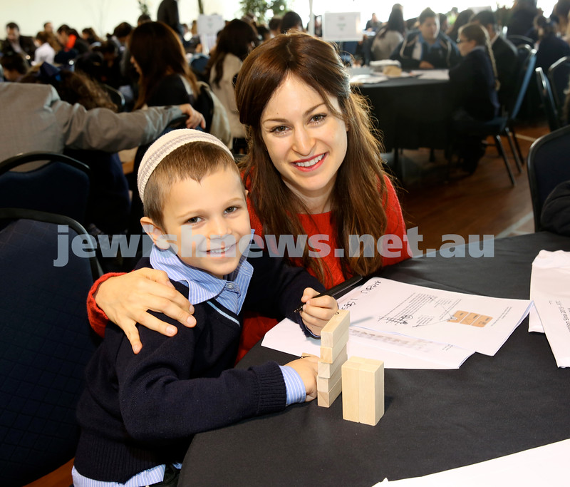 Generation Sinai learning at Kesser Torah College. Moshe Schapiro with his mum Rivkah.
