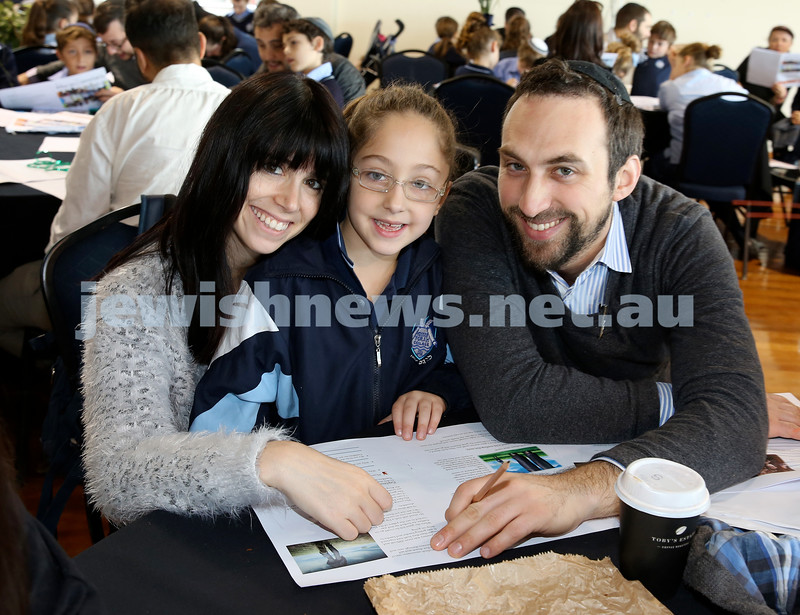 Generation Sinai learning at Kesser Torah College. Laila Feiglin with her parents Shevy & Isser.