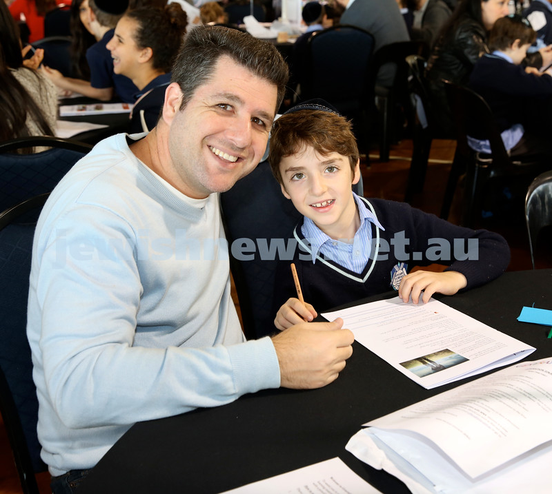 Generation Sinai learning at Kesser Torah College. Akiva Winton with his dad Daniel.