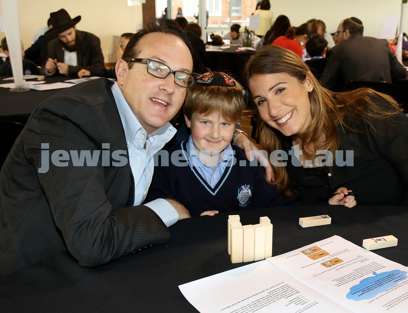 Generation Sinai learning at Kesser Torah College. Idan Levy with his parents Craig & Reena.