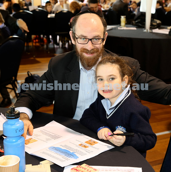 Generation Sinai learning at Kesser Torah College. Tova Lowinger with her dad Eli.