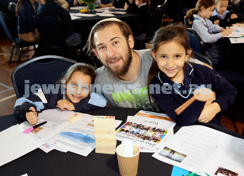 Generation Sinai learning at Kesser Torah College. Haddon Suttner with his daughters Libby & Temima.