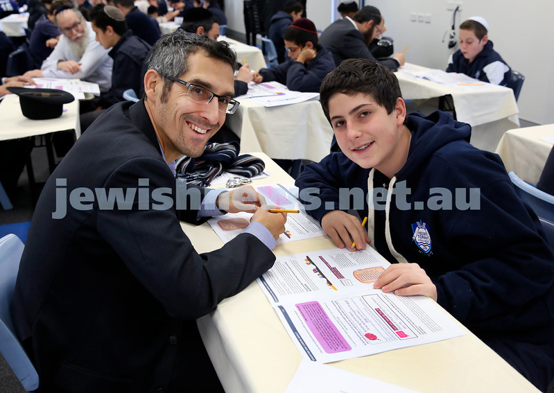 Generation Sinai held at Kesser Torah College. Eitan Franklin with his son Rafi. Pic Noel Kessel.