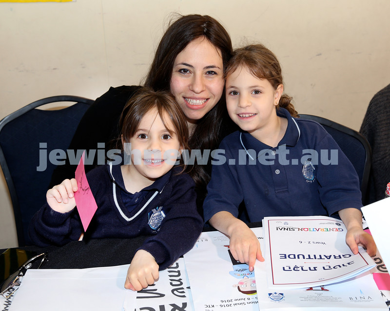 Generation Sinai held at Kesser Torah College. Rivky Lazarus with her children Rosie & Mimi. Pic Noel Kessel.