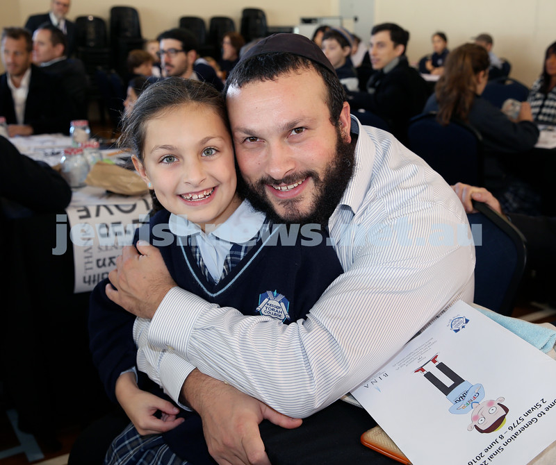 Generation Sinai held at Kesser Torah College. Chaim Greenwald with his daughter Chaya. Pic Noel Kessel.