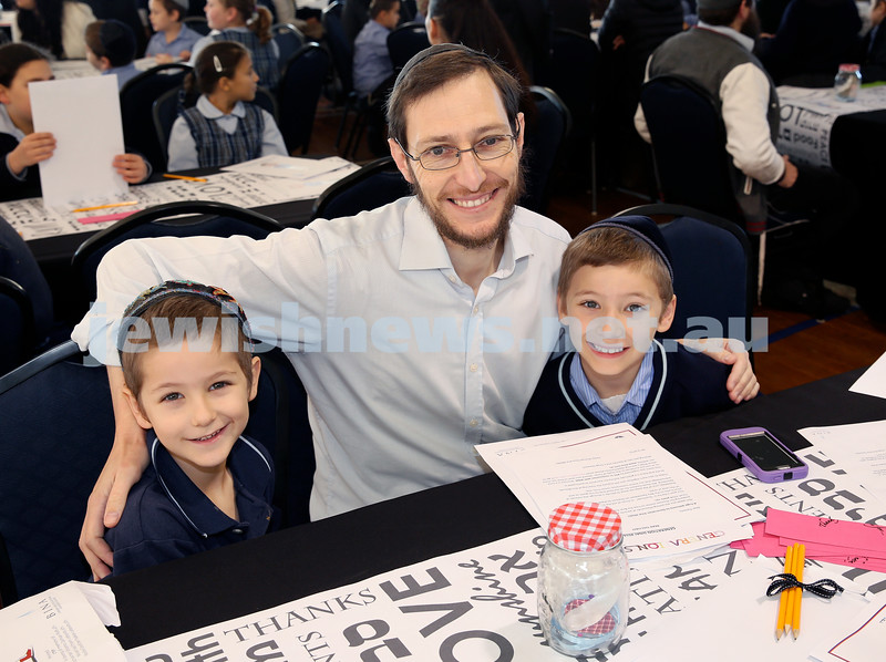 Generation Sinai held at Kesser Torah College. Rabbi Danny Isenberg with his children Yaakov & Shmuel. Pic Noel Kessel.