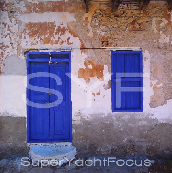 Blue door & window,Greece
