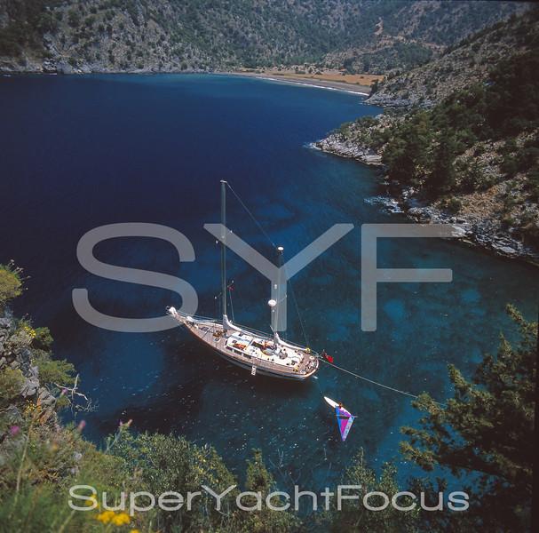 Yacht at anchor,Turkey