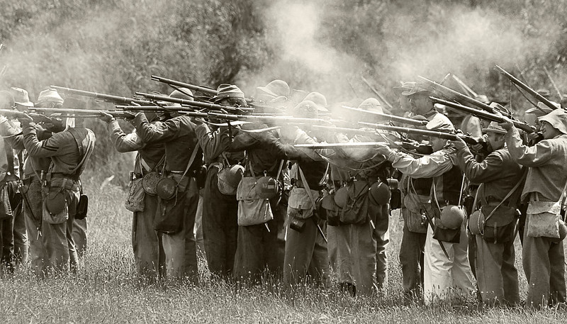 Civil War Re-Enactment at Genesee Country Villages Museum, July 18, 2010.  Cool, warm look of current papers.