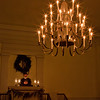 Candles lit in the Church chandelier