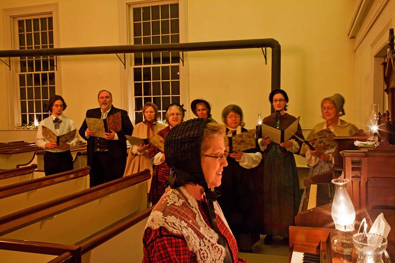 Singing Christmas Carols inside church