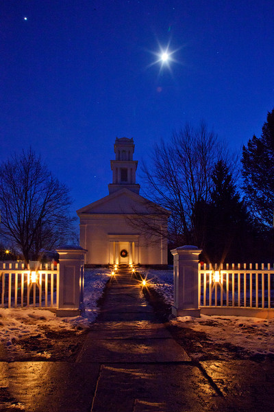 Church at night under Crescent Moon, HDR